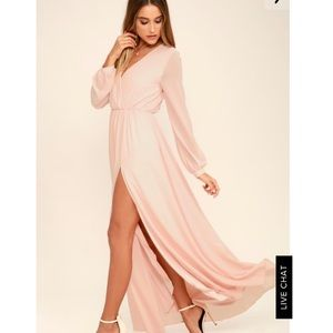 Lulu's Wondrous Water Lilies Blush Pink Maxi Dress